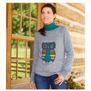 Woolrich Winking Owl Wool Blend Crew Sweater Large